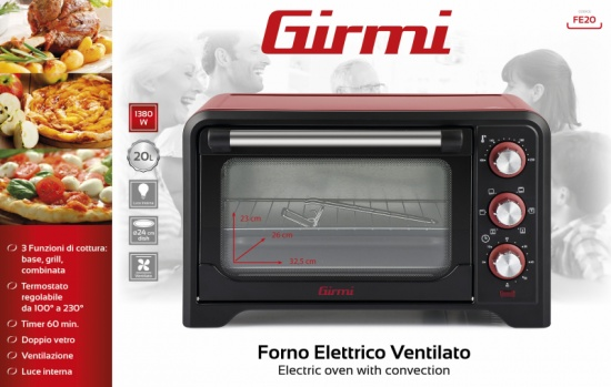 Electric oven with convection Girmi FE20 - HD8